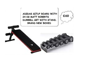 ADIDAS SITUP BOARD WITH 24KG MATT ROBERT DUMBELLS WITH STAND (BNB)