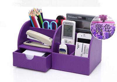 Desk Tray Organizer Office Supplies Storage Pencil Pen Holder Purple Leather  - Purple Office Supplies