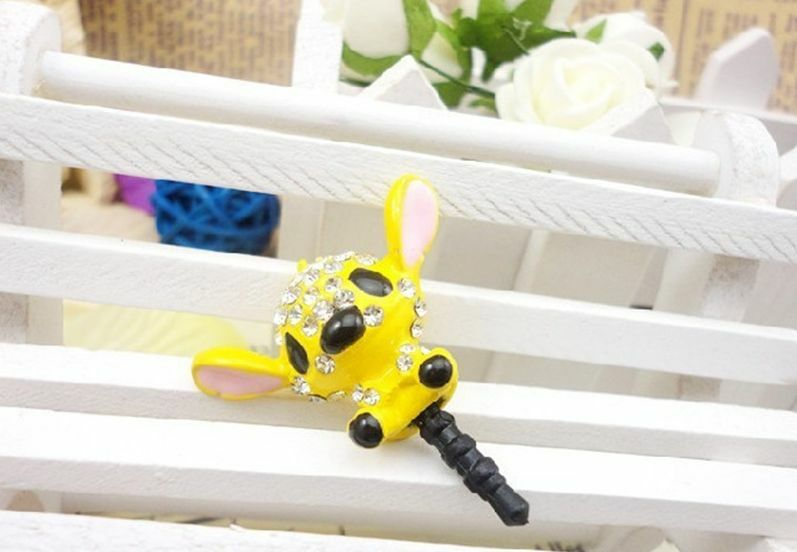 Yellow Stitch Rhinestone Anti Dust Plug Cover Charm for Iphone/Android 3.5mm