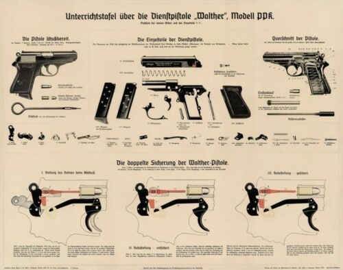 *NICE German WW2 Walther PPK Color Poster Vintage Artwork 007 Manual LQQK & Buy!