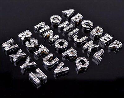 Fashion 26PCS 10MM DIY Slide Charm Rhinestone Letters A-Z Fit Pet Collar/belts