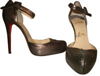 Christian Louboutin Miss Moneypenny Pewter Python Mary Janes 10