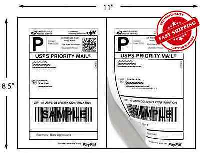 1000 Self Adhesive 5.5x8.5 Shipping Labels 2 Labels/Sheet