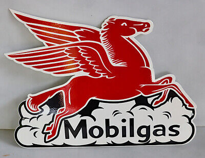 MOBILGAS  FLYING PEGASUS IN CLOUD  Diecut Horse Sign mobil oil  modern retro