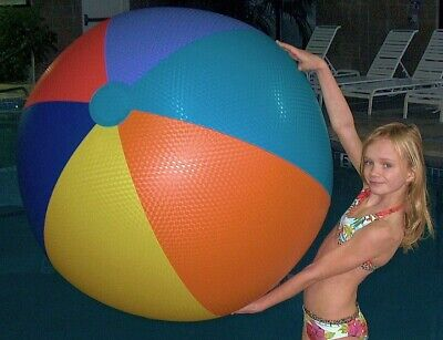 """48""""  6 Color EMBOSSED VINYL Inflatable BEACH BALL Vintage 1960`s Style Pool Toy, used for sale  Shipping to Canada"""