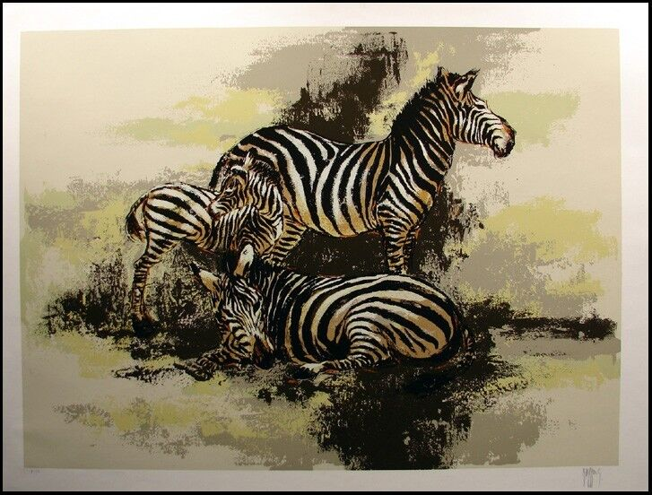 "Mark King ""zebras"" Serigraph On Paper, Signed & Numbered, Make An Offer L@@k!"