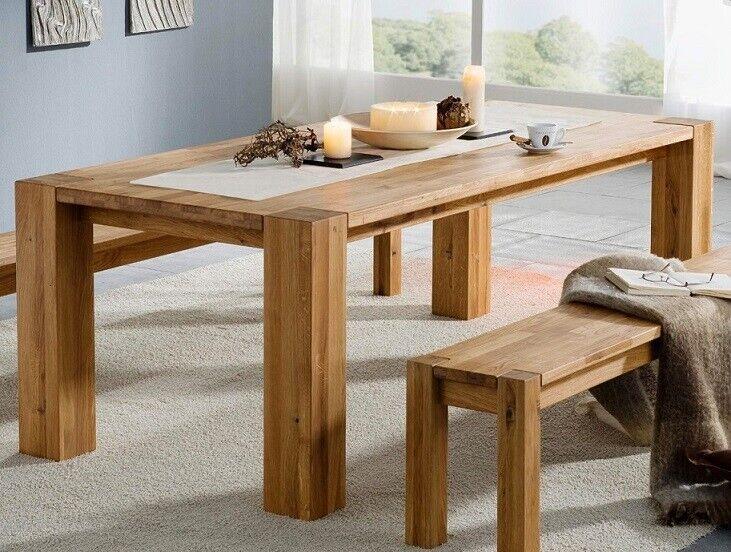 Esstisch Tisch Massivholz 160x90 Wildeiche Eiche massiv geölt NEU OVP!!! 6