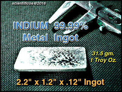 Indium Metal Ingot 99.99 M.p.314f1 Troy Oz.31.5gm Flab Or Non-tox Soldering