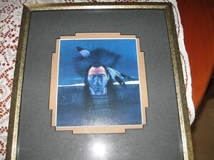 Blue Indian Print Picture - Gold Frame Cornwall Ontario image 1