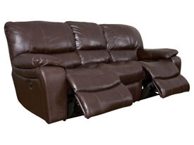 Harveys 3 seater and 2 seater recliner leather sofa, brown (Harveys name: melissa)