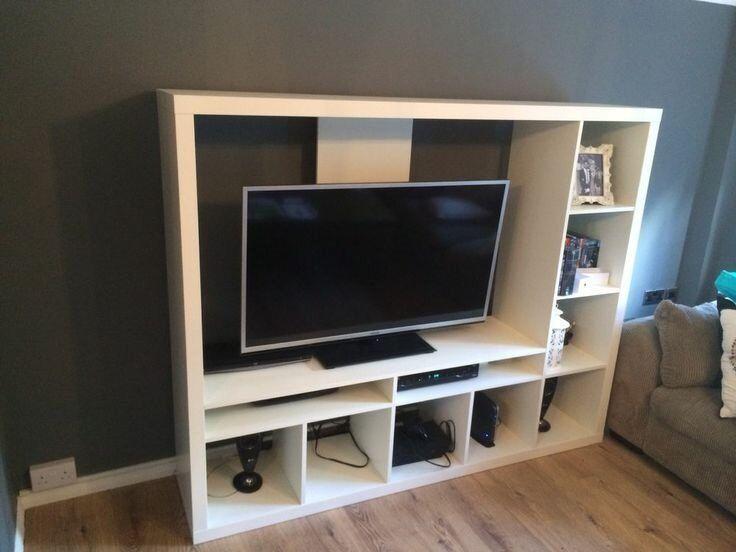 Large White Ikea Tv Shelving Unit