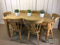 Solid farmhouse table and six matching chairs ( SOLD )