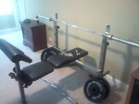 FREE — weights bench, weights, bar and various dumbbells, collection only asap