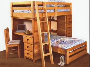 TWIN LOFT BUNK BEDS+DESK,BOOKSHELF,DRAWERS,BOOKSHELF+ DRESSER