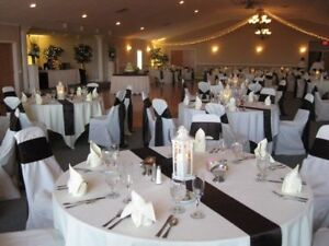 FOR SALE 10 WHITE POLYESTER TABLECLOTHS & 2 TABLESKIRTS $160