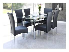 Black glass 6 seater dining table
