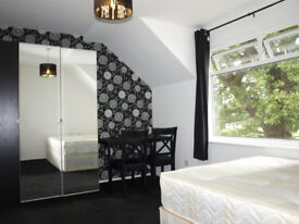Spacious en-suite double room to rent in quiet house in Palmers Green, house with garden