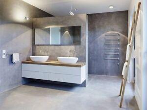 BÉTON comptoirs, lavabos, table, mur, plancher, meuble..