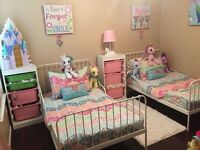 2 white metal adjustable kids beds with mattresses £120