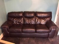 Brown Leather 3 Seater Sofa & Chair WILL DELIVER