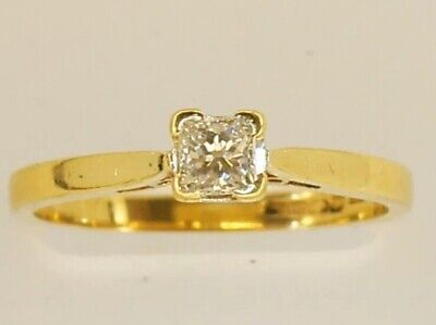 Ernest Jones .0.25ct Diamond Solitaire Engagement Ring - Size N - 18ct Gold
