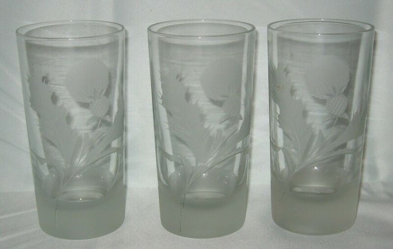 3 Cut Glass Frosted Thistle Tumblers 12 Ounce Highball Glass
