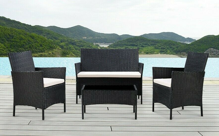 Garden Furniture - Rattan Garden 4 Pc Furniture Set Conservatory Patio Outdoor Table Chairs Lounge