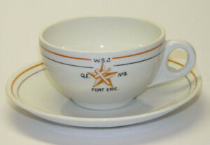 FRATERNAL ORDER FORT ERIE MASONS,BUFFALO CHINA CUPS & SAUCERS
