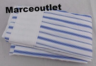 Ralph Lauren Dorsey Jobs Lane Stripe Percale FULL Flat Sheet Blue / White