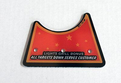 Williams DINER Pinball Machine Lights Grill Bonus Center Plastic