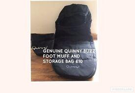 ** REDUCED ** QUINNY BUZZ ORIGINAL FOOT MUFF AND STORAGE BAG