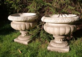 Beautiful matching pair of stone garden urn planters