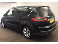 2012 BLACK FORD S-MAX 2.2 TDCI 200 TITANIUM DIESEL 7 SEAT CAR FINANCE FR £37 PW