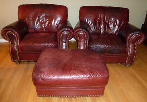 Club Chairs with Ottoman