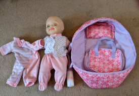 Toy baby set with carry cot and outfit