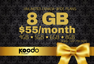 ✨ Koodo 8GB LTE $56/month ✨ 1/5/6/8 GB UNLIMITED CANADA Plans ✨