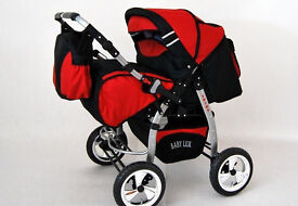 twins pram buggy pushchair cot, red colour