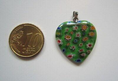Colgante corazón cristal milflores verde 25 mm + colgador plateado bisutería 32