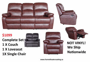 Exclusive Living Room Style Set of Couch + Love Seat + Single Re