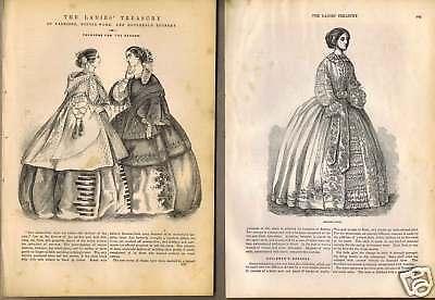 Fashion-Ladies Cloaks-Dresses 1850s Engravings