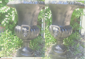 "Beautiful 30""Pair Cast Iron Lion Head Urns Planters +More Styles"