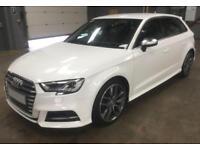 2016 WHITE AUDI S3 SPORTBACK 2.0 TFSI 310 QUATTRO 5DR AUTO CAR FINANCE FR £92 PW