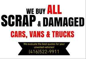 We buy Scrap, damaged & unwanted cars for CASH!