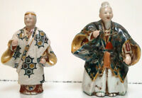 Chinese Pair Colored Porcelain Old Figure of Man and Women