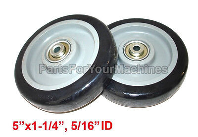 """TWO NON MARKING WHEELS  5"""" x 1-1/4"""", 5/16"""" ID, SHOPPING CART, SHELVES AND MORE"""