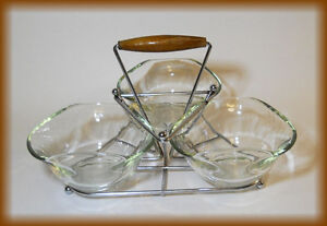 Mid Modern Retro SNACK CADDY with 3 glasses Bowls