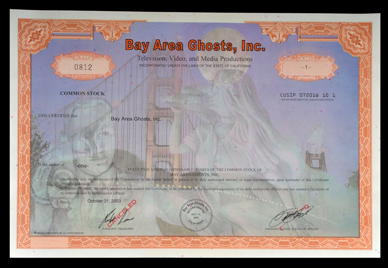 Bay Area Ghosts Stock Certificate