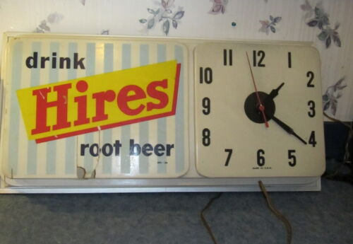 "VINTAGE HIRES CLOCK ADVERTISING SIGN WORKING 24"" X 10"" X 13"""