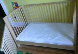 Toddler kid crib bed SINGLAR IKEA with mattress and sheets- $70