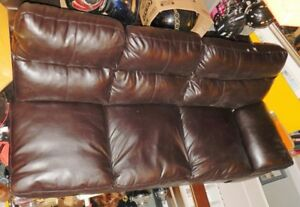 2 piece dark leather sectional for sale